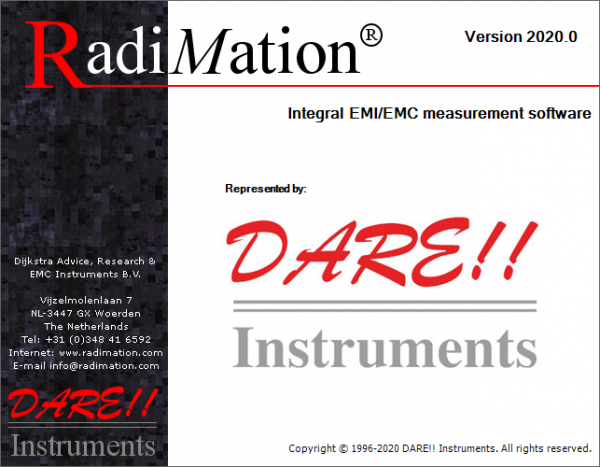 Radimation - Dare EMC Test Software and Laptop